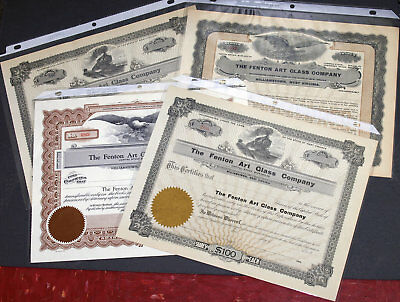 Fenton Art Glass Set of Original Stock Certificates - Four Different Styles