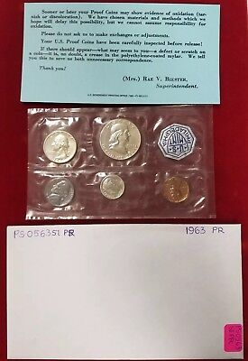 Ps0563Sipr Us Mint 1963 Proof Coin Set 5 Pc Full Mirror 900 Silver 10/25/50 Wow!