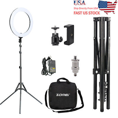 "US 18"" LED Photography Dual Ring Light Dimmable 5500K Lighting Photo W/ Stand"