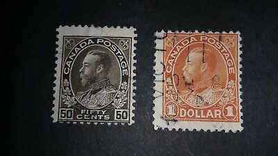 1925 Canada #120 122 Used Stamps 50¢ $1.00 ** George V ADMIRAL Issue