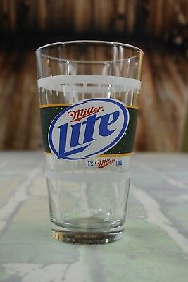 Miller Lite Green Bay Packers Drinking Beer Glass