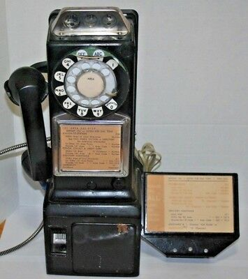 bell system rotary 500 phone set 1961 good for parts or refurbish lock and key vintage payphone vintage bell system western electric rotary pay phone 25 10 5 cent, 3 coin slots