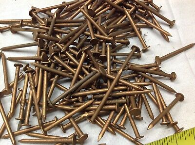 """140 pc. Vintage Solid Copper 4d nails 4 penny NOS 1 1/2"""" long Smooth Shank USA"""