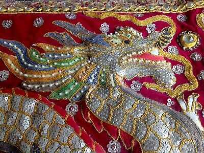 Vintage Burmese Embroidered Sequinned  Malaga Two Dragons