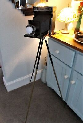 ORIGINAL 1950s PRESS CAMERA & TRIPOD STEAMPUNK RETRO CORNER/STANDING LAMP
