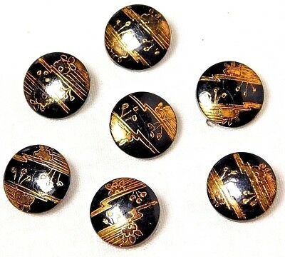 7 Sm Antique VINTAGE Hand Painted GOLD Black GLASS Buttons POND LIFE 9/16  #219