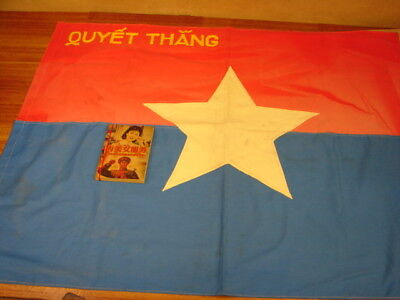 """Vietnam war Viet Cong VC """"Resolve to Win"""" flag and VC patches"""