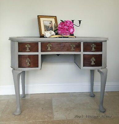 Writing Table or Desk, Edwardian Kidney Shaped, Hand Painted