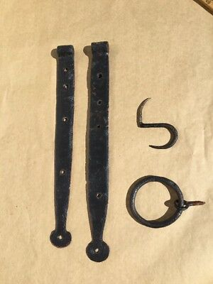 200 Years Old  New England Farm House Hinges & Ring Handle & Hook.