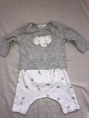 Little White Company Elephant Top And Trousers. Unisex 0-3 Months