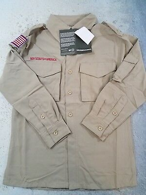 Boy Scout Uniform Shirt Long Sleeve Nylon Tan Youth Small NWT