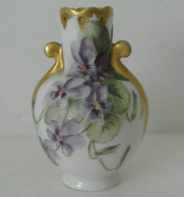 "Antique Porcelain Hand Painted VIOLETS 4"" Mini VASE Incised B.J. Artist LIMOGES"