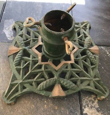 Antique Cast Iron Tree Stand with Original Paint Late 1800's