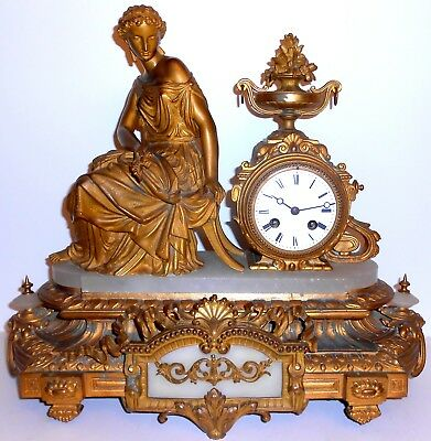 Antique 1800's LPJapy & Cie Large Gilt Cast Metal & Marble French Mantle Clock