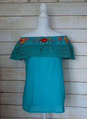 Womens Mexican Embroidered Blouse Medium Large Blue Green Teal Off the Shoulder