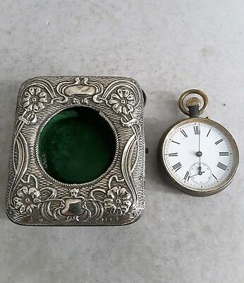 Antique Pocket Watch ( W.o. ). In Solid Silver Front Holder.         Birm. 1906.