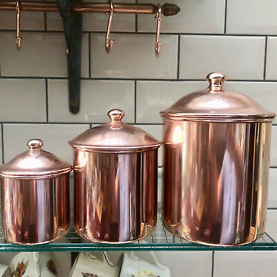 Vintage French Set Of 3 Copper Kitchen Storage Jars With Lids By Letrefle Retro