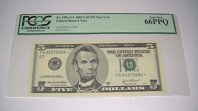 USA 5$ 2003A Federal Reserve Note Star Replacement 66 PPQ GEM UNC PCGS