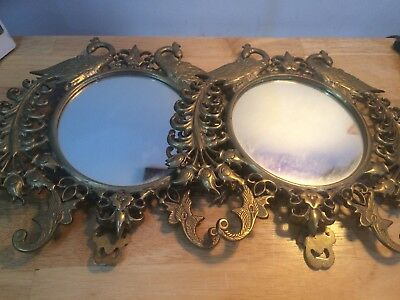 Stunning Pair Of Vintage Brass Framed Peacock Mirrors Freestanding or Hanging