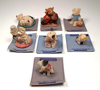 ITTY BITTY CRITTERS 7 Miniature Pigs Figurines 1986 United Deisgn Collection