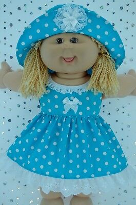 """Play n Wear Doll Clothes To Fit 16"""" Cabbage Patch TURQUOISE POLKA DOT DRESS~HAT"""