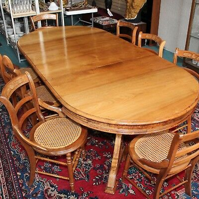 Antique Solid Walnut Italianate Eastlake Victorian Dining Set Table 8 Chairs