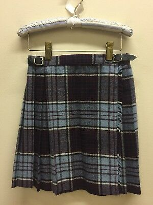 Vtg Girl 24 S Ireland Wool Kilt Skirt Leather Buckles 'Fringe'
