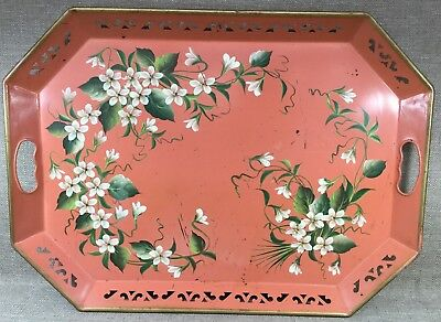 "Vintage Pilgrim Art Toleware Pierced Two Handled Serving 22"" Tray #150"