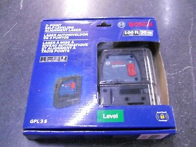 BRAND NEW Bosch GPL 3 S 100 ft 3-point Self-Leveling Alignment Laser