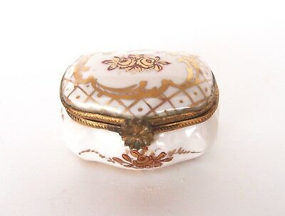 Antique Gold & White French Hand Painted Trinket Box