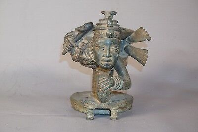 Lost Wax Cast Method African Benin Kingdom Bronze Container from Nigeria 7""