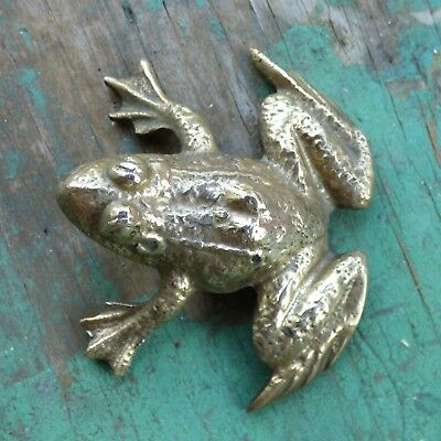 """Vintage Solid Brass Frog Paperweight Figurine 2.5"""" Long ~ Nice Detail ~ Taiwan"""