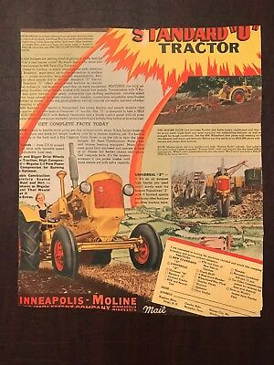 "Vntg Litho Print Art Repro–""Pastoral Farm""–MM Tractor Ad reverse-10x8.5"""