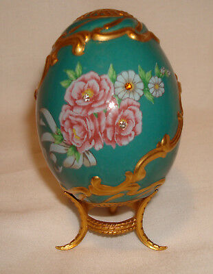 Franklin Mint Faberge Imperial Jeweled Egg Collection Winter Rose Palace Teal