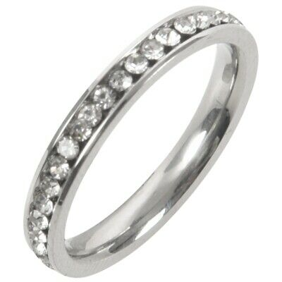Stainless Steel Ring Eternal Eternity Band Ring Band Cz Cubic Zirconia Zircon EL