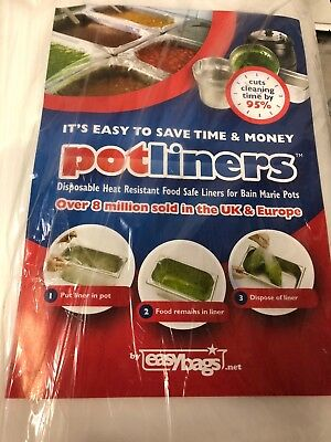 Easybags Pot liners Size 2 BAIN MARIE CLEAR LINER  (1/3 Size) POT PACK OF 100
