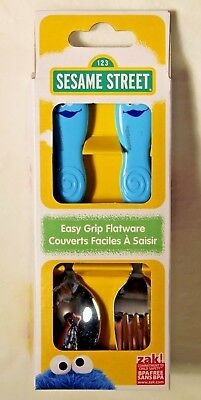NEW Sesame Street Cookie Monster Easy Grip Toddler Fork and Spoon by Zak