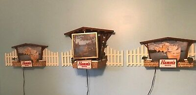 HAMM'S Beer Lighted Bar Sign Wall Light Rotating Clock Flying Goblets Motion