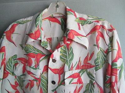 Rare Vtg 1940S 40S Silky Rayon Heliconia Floral L/sleeve Hawaiian Shirt Med N/r