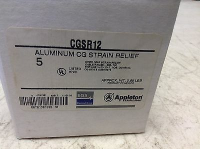 Appleton CGSR12 Strain Relief Connector CORD SIZE 0.625 TO 0.75 CG-SR12 Box of 5