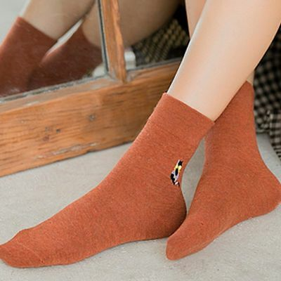 Soft Autumn Winter Cat Printed Embroidery Cotton Socks Warm Socks Casual