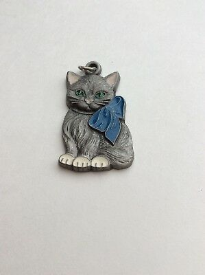 I Love My Kitty, Painted, P.Davis, Rawcliffe Pewter Figurine, Keychain, Key Ring