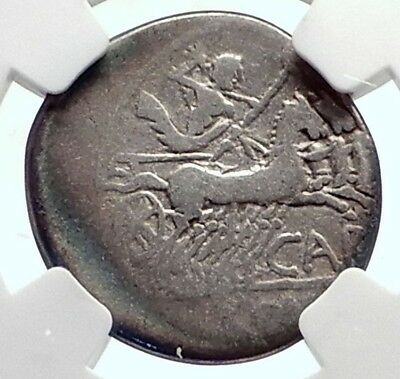 Roman Republic 121BC Silver Ancient Coin of Rome w JUPITER CHARIOT NGC i72092