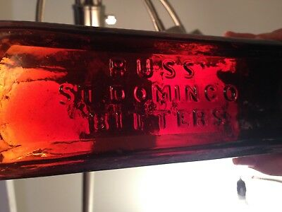 Gorgeous Puce Colored Russ St. Domingo Bitters Bottle, New York, Repaired,,crack