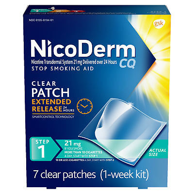NicoDerm CQ Step 1 Stop Smoking Aid Nicotine Patch, 21mg, 7 Clear Patches