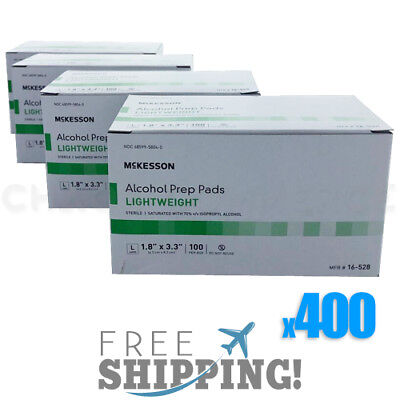 Alcohol Prep Pads LARGE Swabs Saturated Wipes 400 Individually Wrapped Sterile