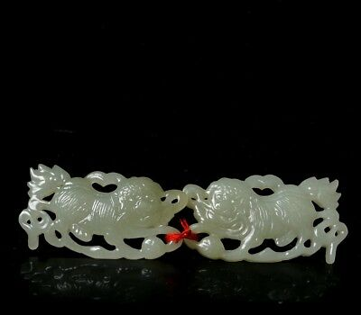 Chinese Exquisite Hand-carved Lion dance Carving Hetian jade Pendant a pair