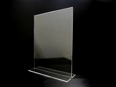 """Acrylic Sign Holder 8.5"""" X 11"""" vertical Back Design Ad Frame Picture Photo"""