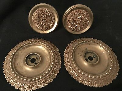Pair Of Antique Ornate Solid Bronze Brass Door Knobs And Back Plates