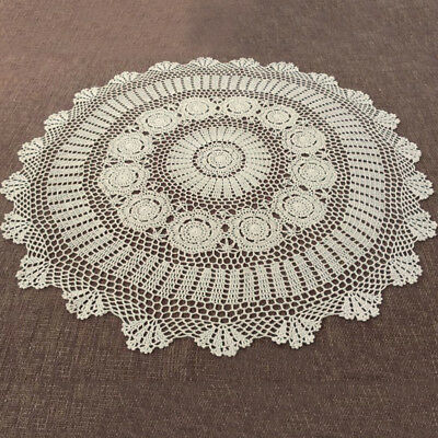 Round Hand Crochet Tablecloth Ecru Vintage Lace Table Cloth 35inch Floral Doily